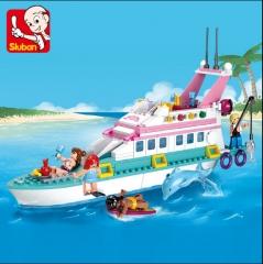 小鲁班积木M38-B0609-粉色梦想-豪华游艇