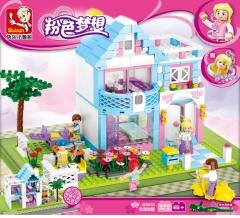 小鲁班积木M38-B0535-粉色梦想-花园别墅