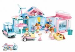 小鲁班积木M38-B0822-粉色梦想-小屋花园