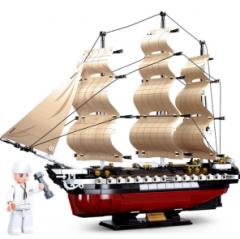 小鲁班积木M38-B0836-宪法号风帆护卫舰